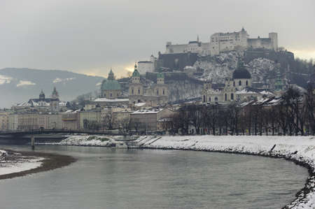city salzburg in Austria at winter photo
