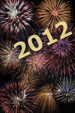 happy new year 2012 with fireworks Stock Photo - 8826463