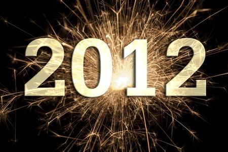 felice anno nuovo 2012 con fuochi d'artificio