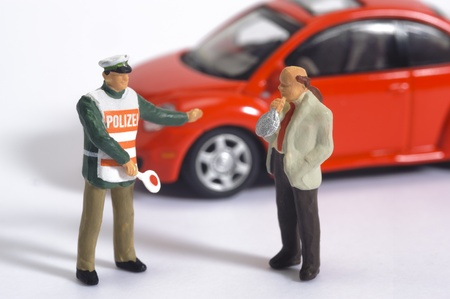 sobriety test: car driver while alcohol test and police Stock Photo