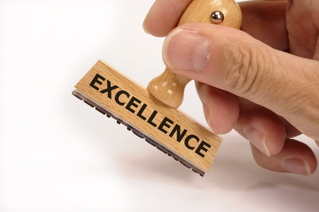 rubber stamp in hand marked with excellence Stock Photo - 9049197