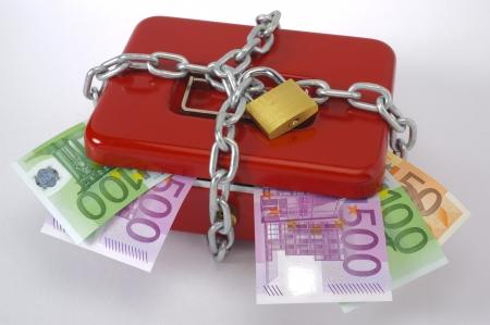 catena: cash box and euro Stock Photo