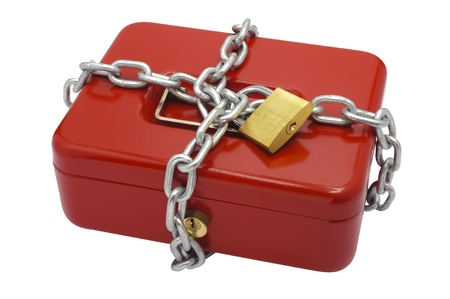 catena: padlock and chain on cash box
