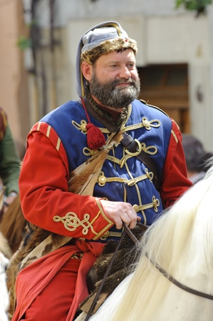 ROTHENBURG OB DER TAUBER, GERMANY - JUNE 12: performer dressed in historical costume as soldier while the annual medieval parade -Meistertrunk- at June 12, 2011 in Rothenburg ob der Tauber, Germany
