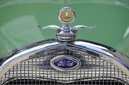 typ: LANDSBERG, GERMANY - JULY 9: Oldtimer rallye for at least 80 years old antique cars with Ford, Typ A Tudor Sedan, built at year 1928, photo taken on July 9, 2011 in Landsberg, Germany