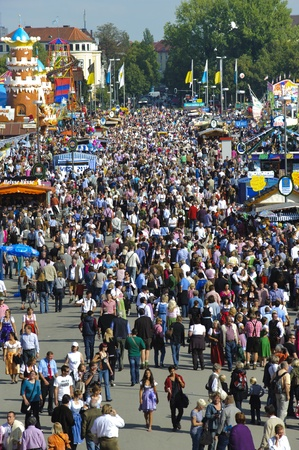 MUNICH, GERMANY - SEPTEMBER 21: overview to the visitors of world biggest beer festival -Oktoberfest in Munich- on September  21, 2011 in Munich, Germany