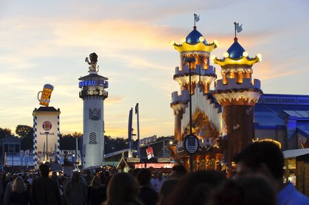 MUNICH, GERMANY - SEPTEMBER 21: panorama view to the tents of world biggest beer festival Oktoberfest in Munich on September  21, 2011 in Munich, Germany