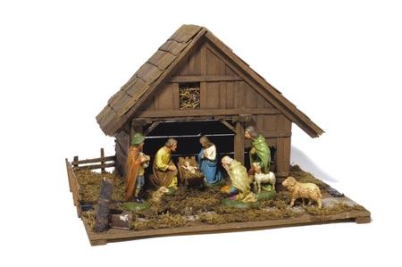 nativity scene over white background photo