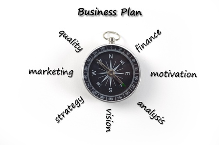 business analysis: business plan with compass Stock Photo