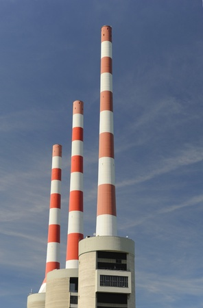 industry chimneys at  electricity power station Stock Photo - 11489779