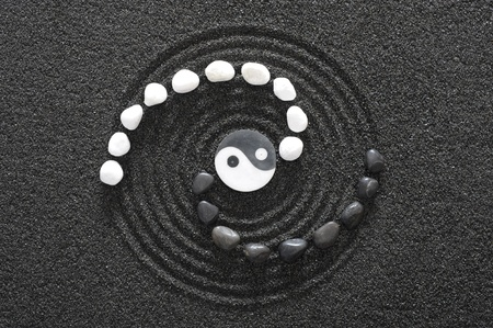 zen garden: zen stones with yin and yang Stock Photo