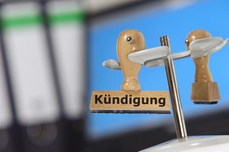 dismissal: german stamp marked with DISMISSAL - Kuendigung