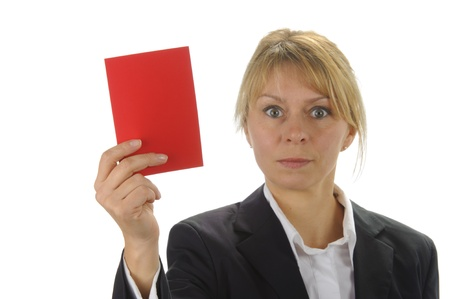 rejected: angry business women with negative red card