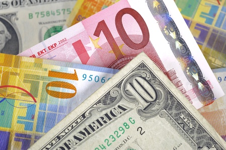 global currencies: dollar, euro and swiss franc currency