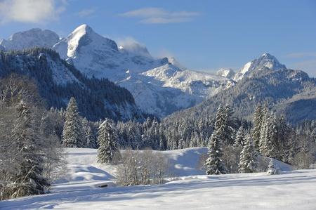 montañas nevadas: Paisaje de invierno en Baviera, Alemania