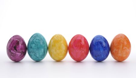 six colorful easter eggs photo