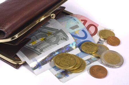 bolsa con dinero euro Foto de archivo