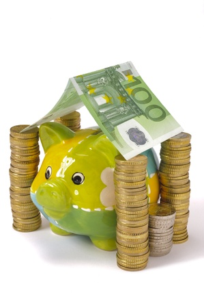 euro bill: piggy bank and euro