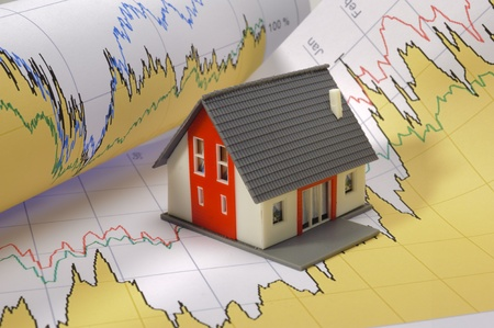 model house on financial business chart photo