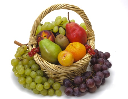 mixed berries: basket with fresh fruits