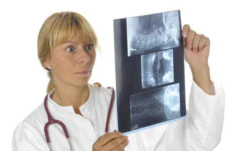 female doctor with x-ray film photo