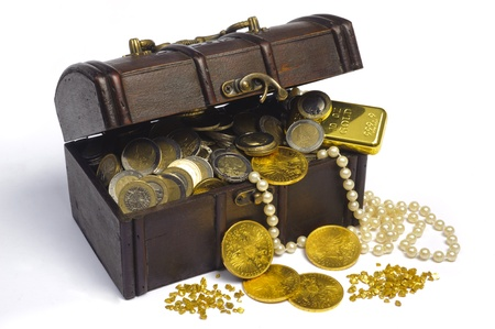 buried: treasure chest with euro money and gold