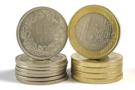 euro and swiss franc coin photo