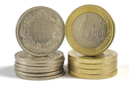 frank szwajcarski: euro i frank szwajcarski gotówkowy