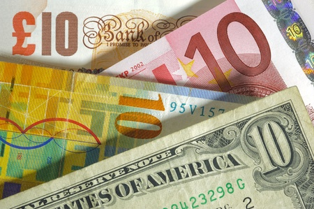swiss franc: dollar, franc, euro, pound currency from usa, Europe, swiss, england