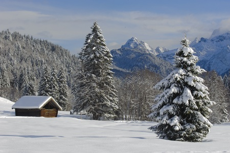 winter landscape at alp mountains in bavaria, germany Stock Photo