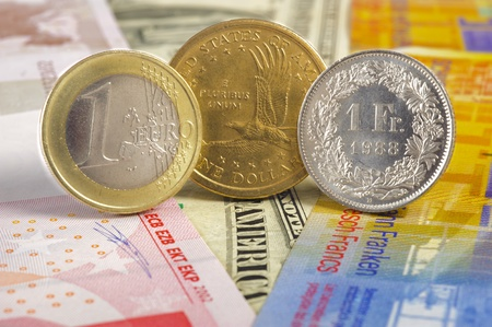 swiss franc note: euro, dollar, franc currency Stock Photo