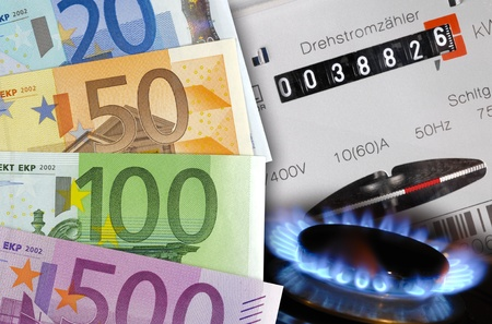 electricity supply: electric counter, gas and energy cost euro