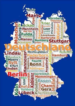 map of germany and big german cities photo