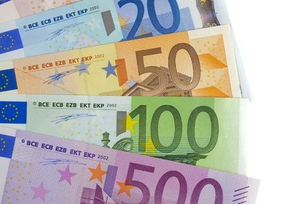 euro notes: euro currency isolated over white background Stock Photo