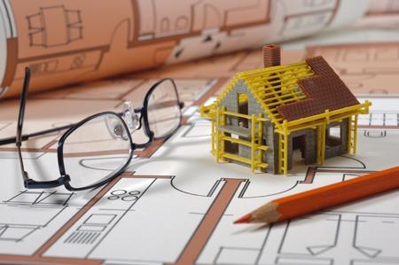 model house on architectural bluprint Stock Photo - 13057525