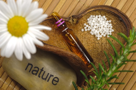 alternative medicine with homeopathy and globules photo
