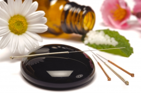 alternative medicine with homeopathy, globules and acupuncture Stock Photo - 13273034