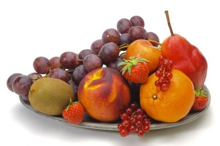 fresh fruits isolated over white background
