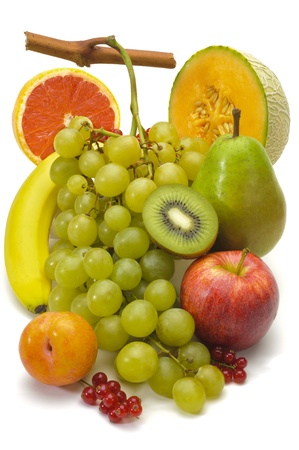 fresh fruits isolated over white background photo