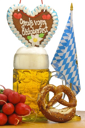 big glass of german bavarian beer at world famous beer festival Oktoberfest  in Munich photo