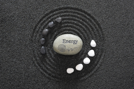 stone of energy in zen garden photo