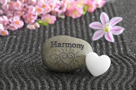 and harmony: stone of harmony in zen garden Stock Photo