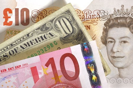 european exchange: pound, euro and dollar currency banknotes of england, europe and USA