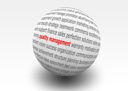 focus group: illustrated ball with business text for quality management Stock Photo