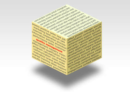 focus group: illustrated flying cube with business text for quality management