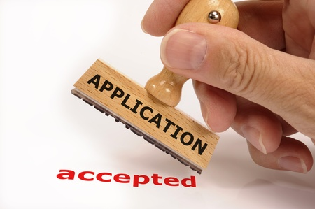 acceptance: rubber stamp marked with application and its copy accepted