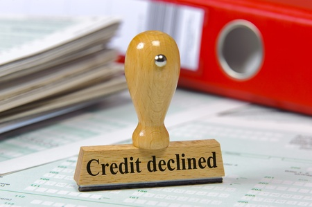 credit crisis: rubber stamp marked with credit declined