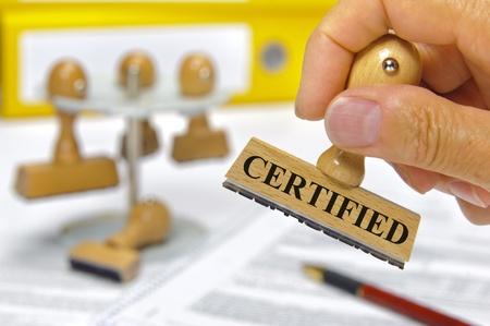 certification: sello de goma marcado con certificado