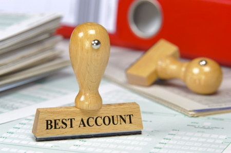 banking concept: rubber stamp on documents marked with best account Stock Photo