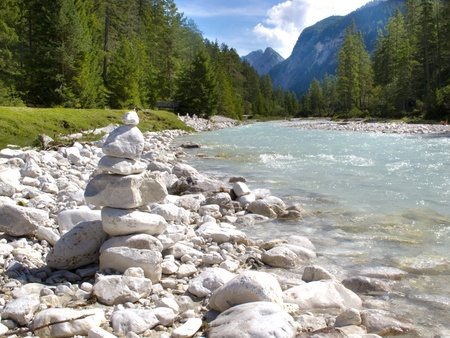 fishing scene: river Isar at alps mountains in Bavaria, Germany